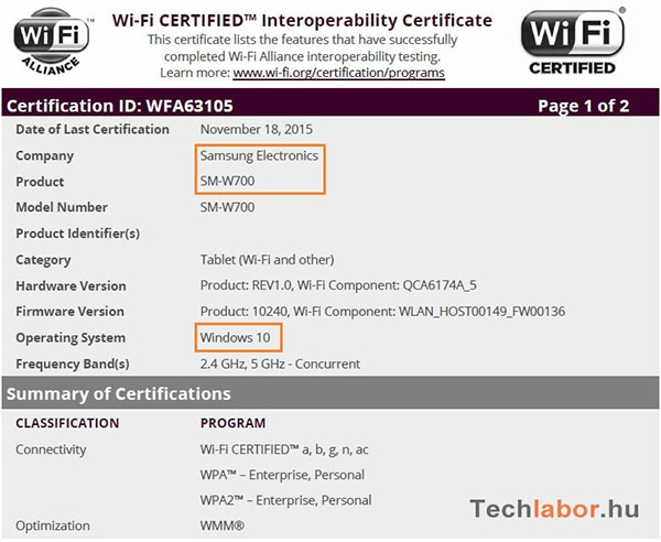 Samsung SM-W700 в базе данных Wi-Fi Alliance