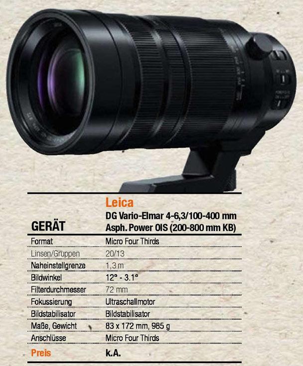 Оптическая схема объектива Panasonic Leica DG 100-400mm / F4.0-6.3 будет включать 20 элементов в 13 группах