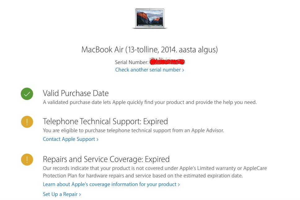 Купив MacBook у официального поставщика, можно остаться без официальной гарантии Apple. UPD. Но я добился успеха - 3