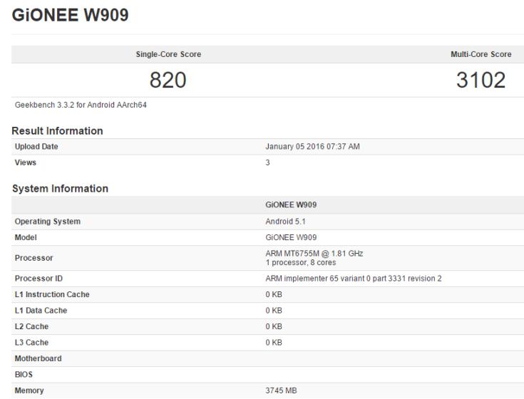 Сердцем смартфона Gionee W909 послужит SoC MediaTek Helio P10