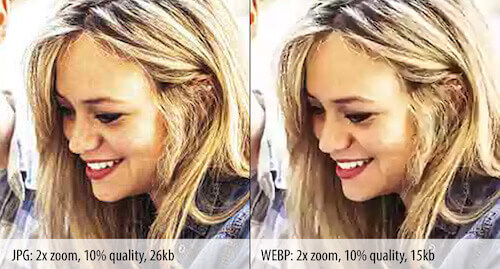 Difference in zoomed-in quality between JPEG and WebP