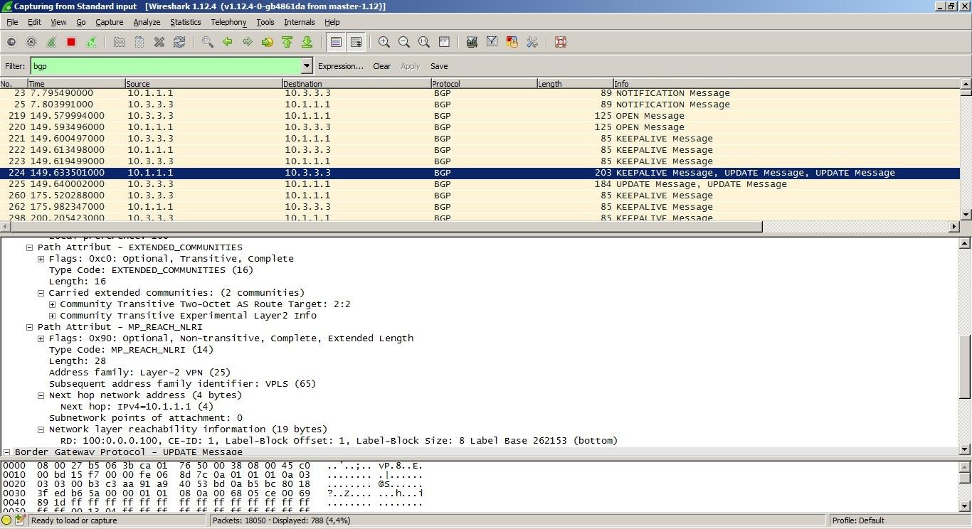 VPLS. Распределение меток с помощью BGP - 4