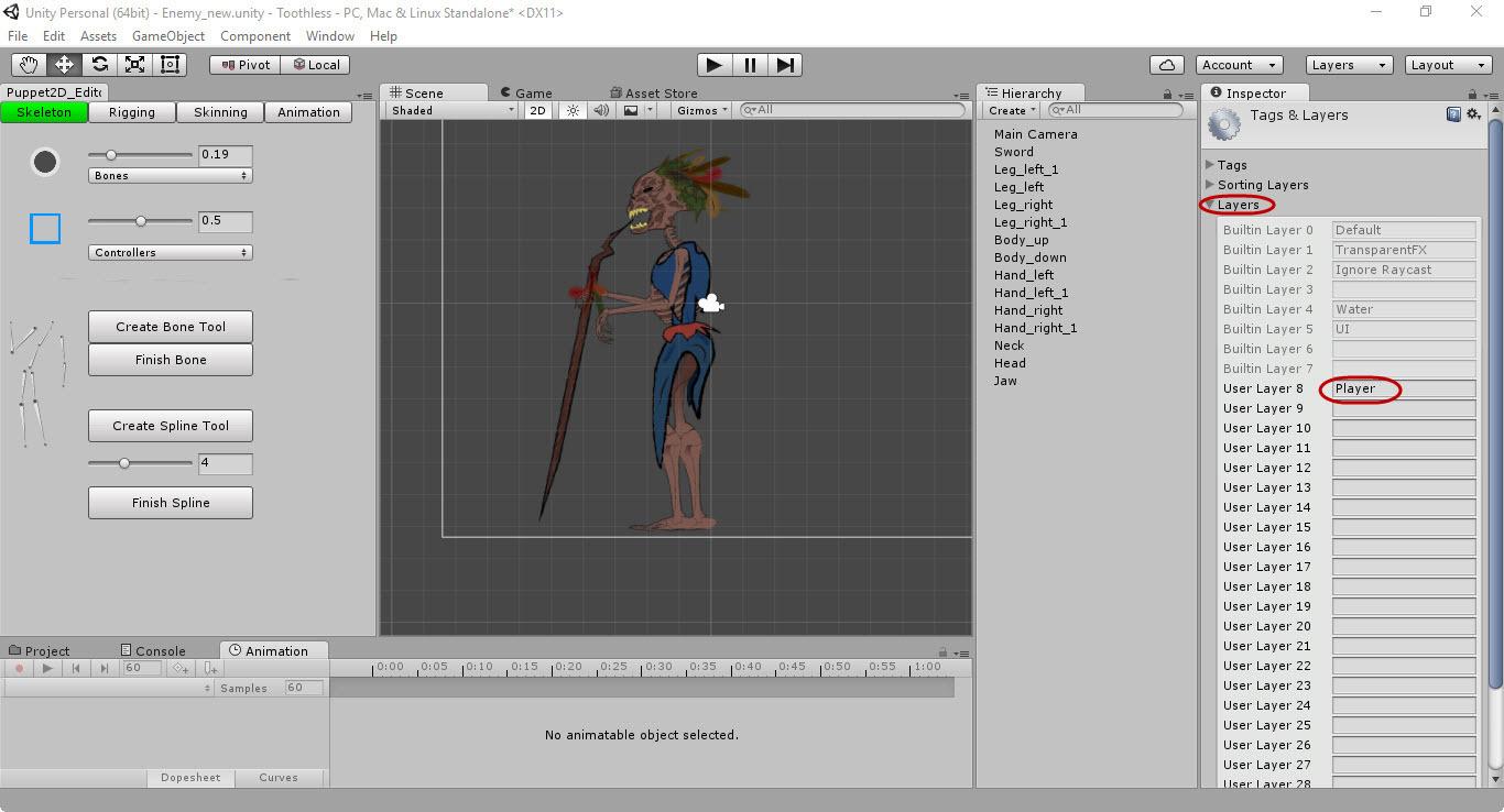 Скелетная 2D-анимация в Unity с помощью плагина Puppet2D