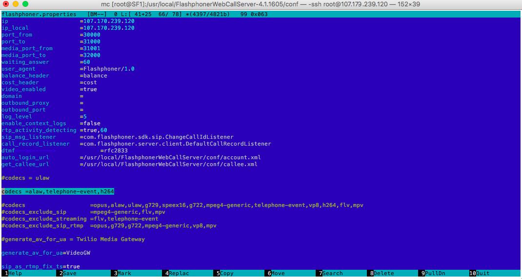 Листинг файла конфигурации Web Call Server 4