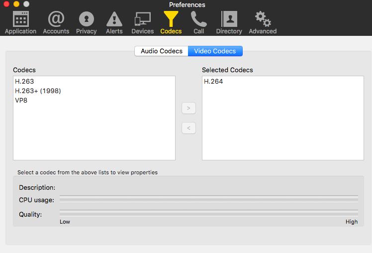 Используемые видео кодеки для сервиса Zoom.us в Bria