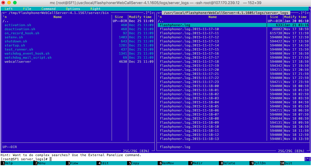 Log файл Web Call Server'a