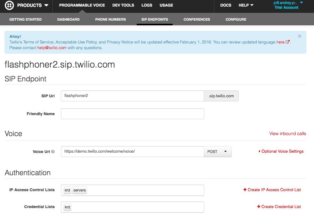 Страница сервиса Twilio с настройками домена