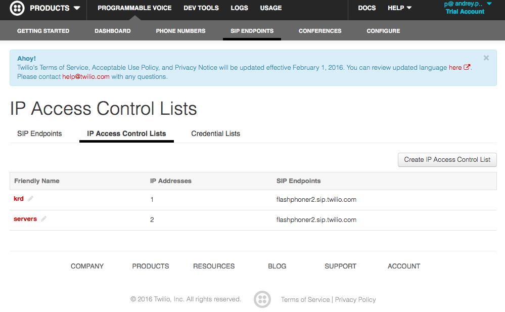 Страница со списком IP адресов и пользователями