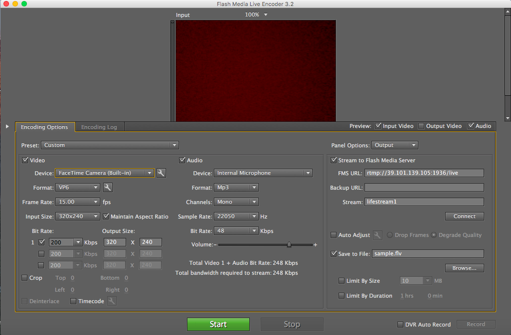 Adobe Flash Media Live Encoder  window