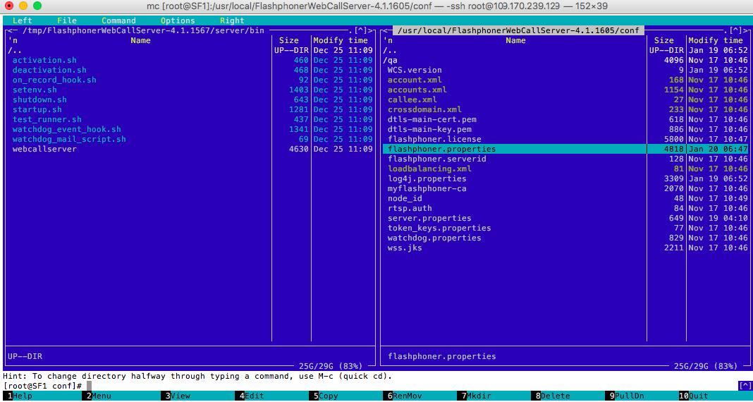 Консоль с папкой где расположен конфигурационный файл Web Call Server
