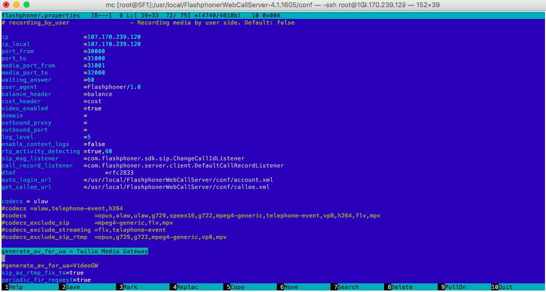 Изменяемые параметры в конфиге Web Call Server
