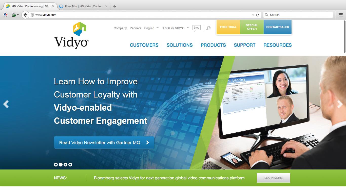 Начальная страница на сервисе Vidyo
