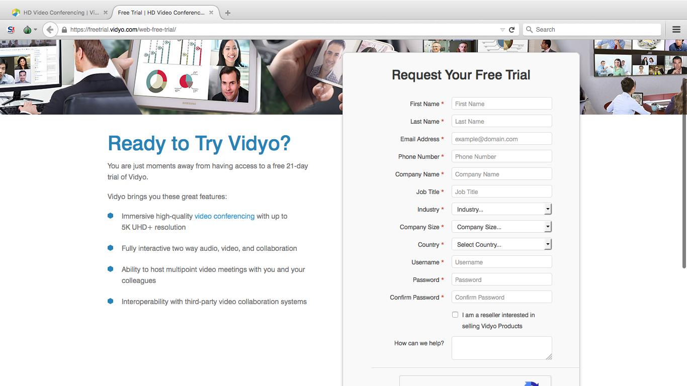 Страница регистрации на сервисе Vidyo