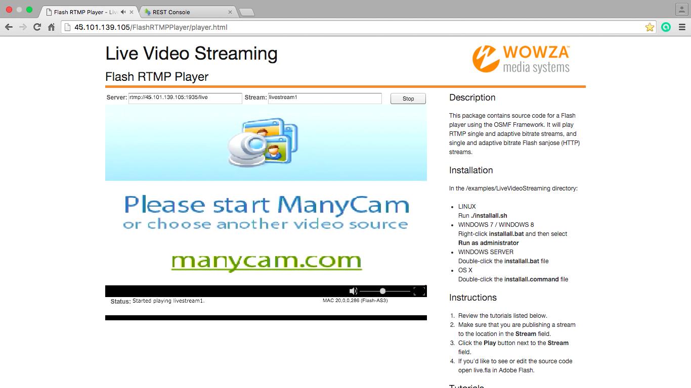 Проверочное видео в Flash Player полученное через сервер потокового вещания после запроса от Web Call Server к Vidyo