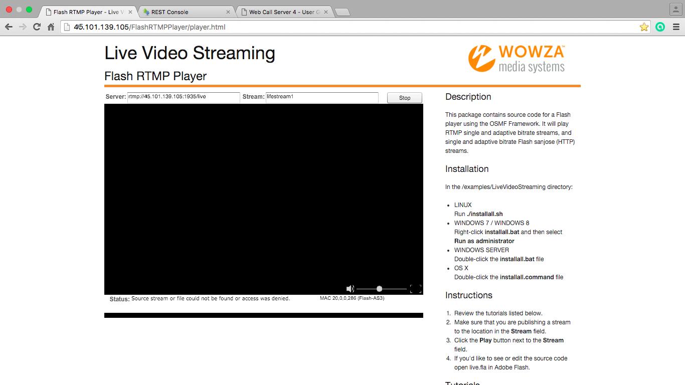 Результирующая трансляция в окне Flash Player'a