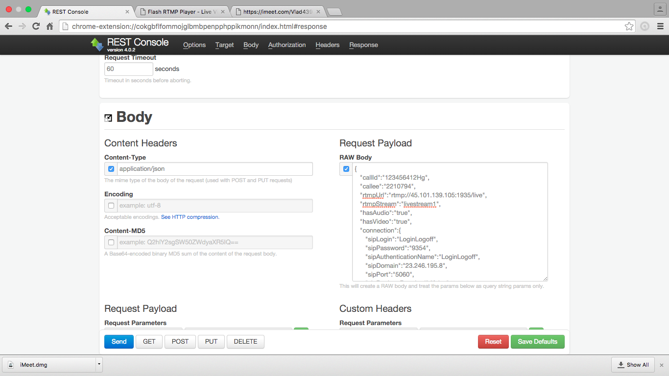 Скриншот запроса к серверу Lifesize через Web Call Server