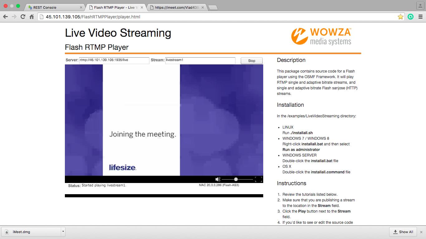 Трансляция ответа от Lifesize полученного через сервер потокового вещания