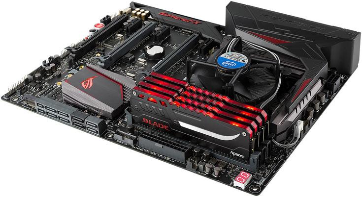 Модули памяти Apacer Blade Fire DDR4 объемом 4, 8 и 16 ГБ доступны по одному и в составе двухканальных наборов объемом до 32 ГБ
