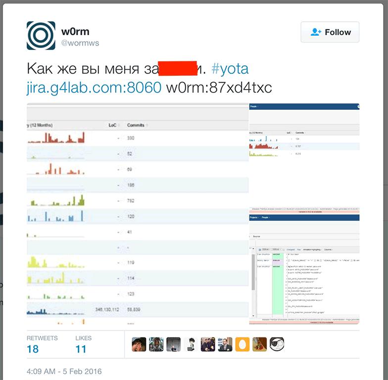 Российский хакер опубликовал данные для доступа к исходным кодам сервисов Yota - 2