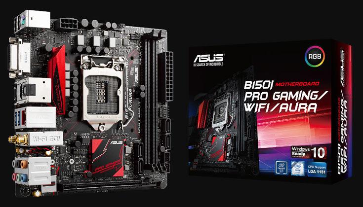 Системные платы Asus B150I Pro Gaming/WiFi/Aura, B150I Pro Gaming/Aura имеют полноцветную подсветку