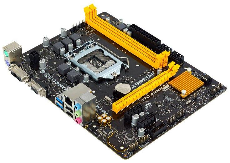 Системная плата Biostar H110MD Pro имеет два слота для памяти DDR3