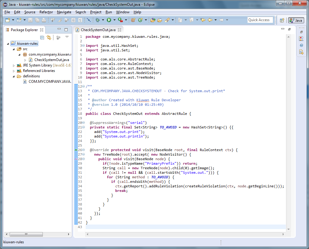 Написание кастомных правил для анализатора кода Kiuwan - 7