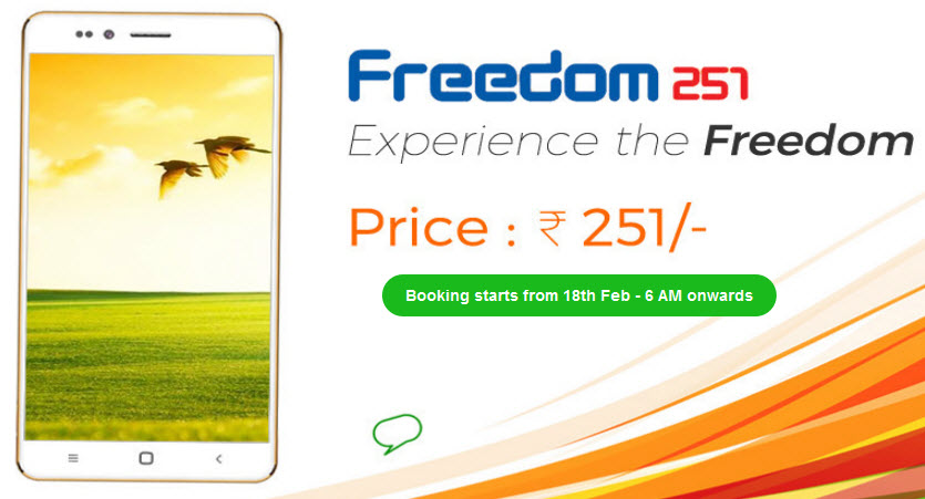 Самый доступный смартфон Freedom 251, оцененный всего в $4, предложит дисплей диагональю 4