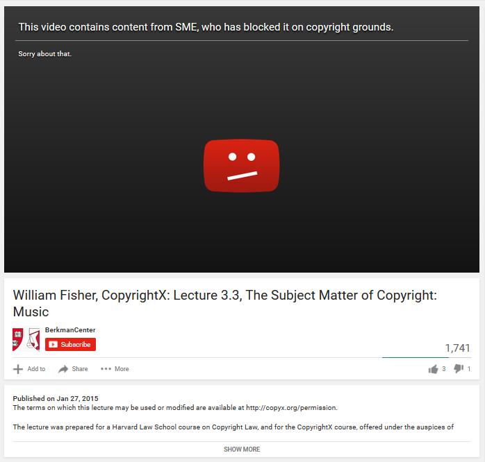 Курьезы копирайта: с YouTube удалена видеолекция об авторском праве по обвинению в нарушении авторского права - 1