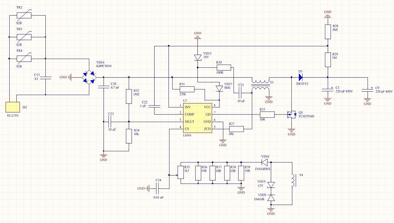Полная схемотехника активного ККМ и зарядного устройства для ИБП 3 кВт - 4