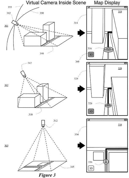 По замыслу изобретателей, трехмерное изображение должно строиться с точки зрения виртуальной камеры, размещаемой над картой