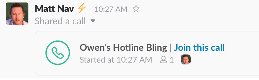 Slack Call Message