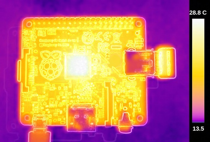 Термосъёмка Raspberry Pi 3 показала температуру 101ºC - 2