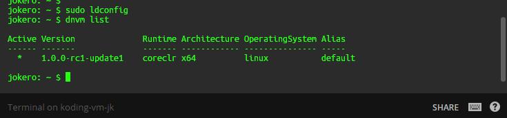Подготовка ASP.NET 5 (Core) проекта и DNX окружения для участия в хакатоне в рамках hack.summit() 2016 на Koding.com - 2