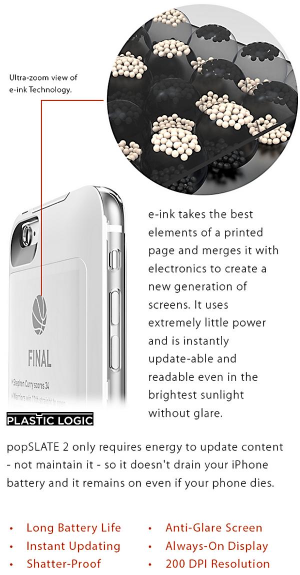 popSLATE 2 — обновленный чехол для Apple iPhone обзавелся небьющимся E-ink экраном и собственной встроенной батареей - 2
