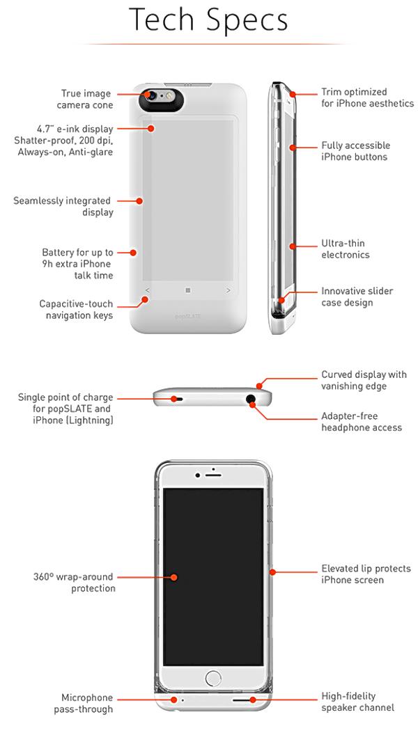 popSLATE 2 — обновленный чехол для Apple iPhone обзавелся небьющимся E-ink экраном и собственной встроенной батареей - 3