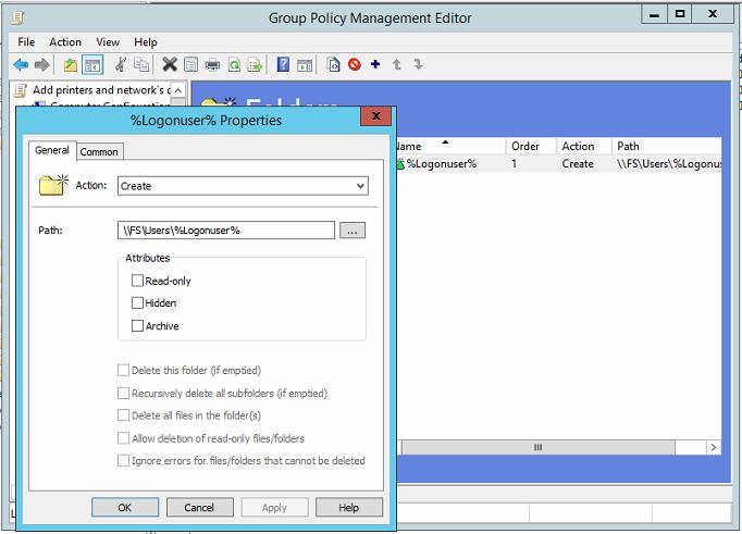 Добавление сетевых дисков с персональными папками для пользователей через GPP на примере Windows Server 2012R2 - 5