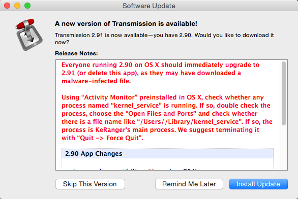 Вымогатель KeRanger для OS X: наш анализ - 2