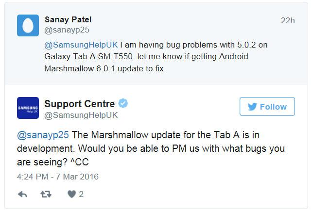 Samsung планирует выпустить обновление Android Marshmallow для планшетов Galaxy Tab A