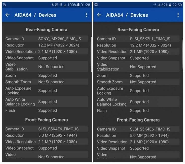 В камерах смартфонов Samsung Galaxy S7 встречаются два разных датчика изображения