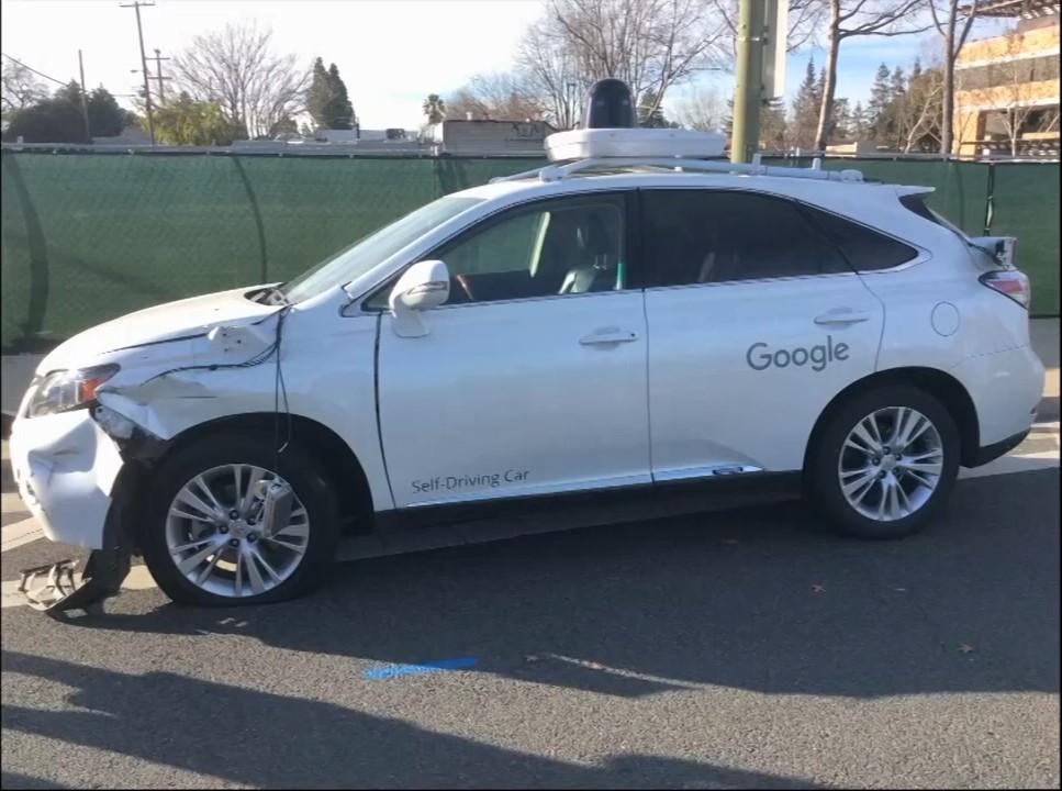 Видеозапись с камер наблюдения автобуса, столкнувшегося с автомобилем Google - 3