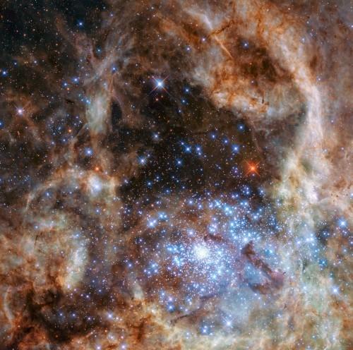 «Хаббл» изучил кластер с 9 гигантскими звёздами в 100-250 раз массивнее Солнца - 1