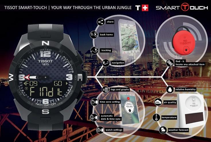Часы Swatch Tissot Smart-Touch смогут помочь в навигации