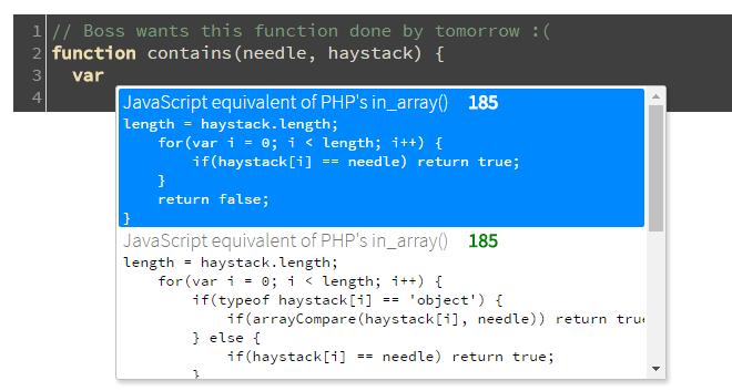 Автоматическое дополнение JS-кода из базы Stack Overflow - 1