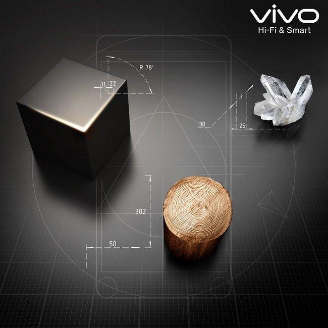 При создании смартфона vivo V3 используются металл, стекло и дерево