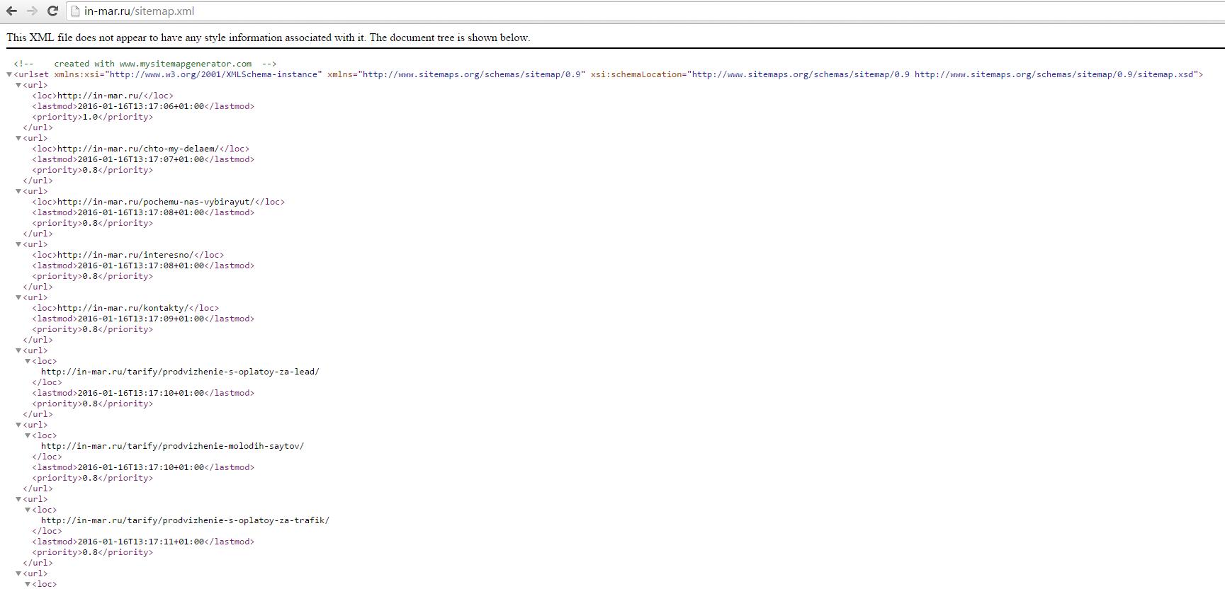 Sitemap.xml для поискового продвижения сайта в Яндексе