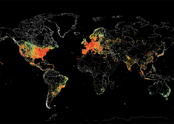 Worldwide ping by Shodan
