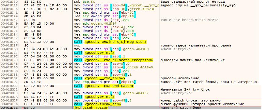 Реализация макроса try для gcc под win32 - 2