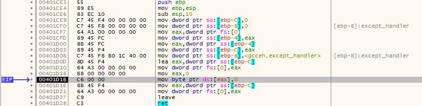 Реализация макроса try для gcc под win32 - 1