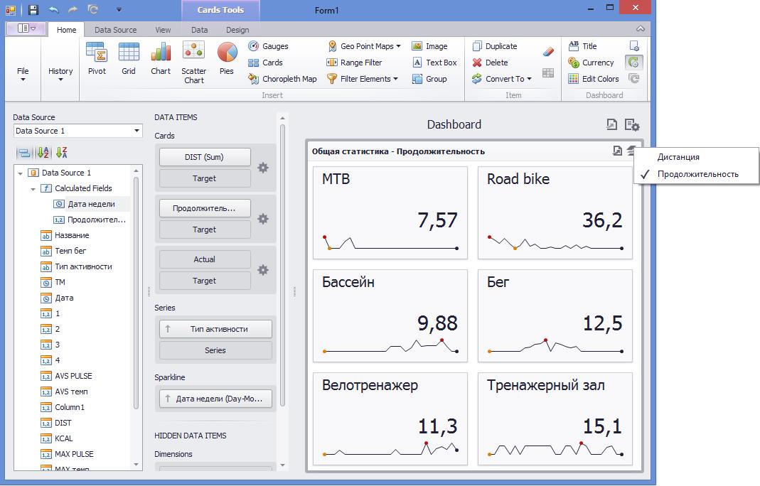 Визуализируем данные тренировок с DevExpress Dashboard - 4