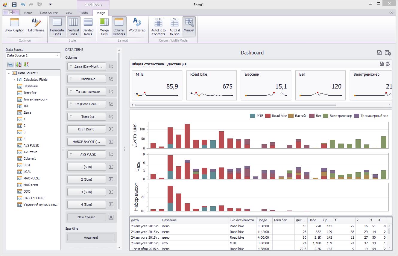 Визуализируем данные тренировок с DevExpress Dashboard - 6